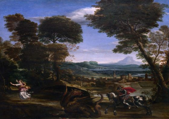 Domenichino (Domenico Zampieri): Landscape with St. (Saint) George and the Dragon. Fine Art Print/Poster. Sizes: A4/A3/A2/A1 (001487)